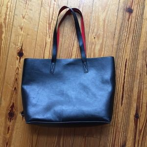 Old Navy Black and Red faux Leather Tote